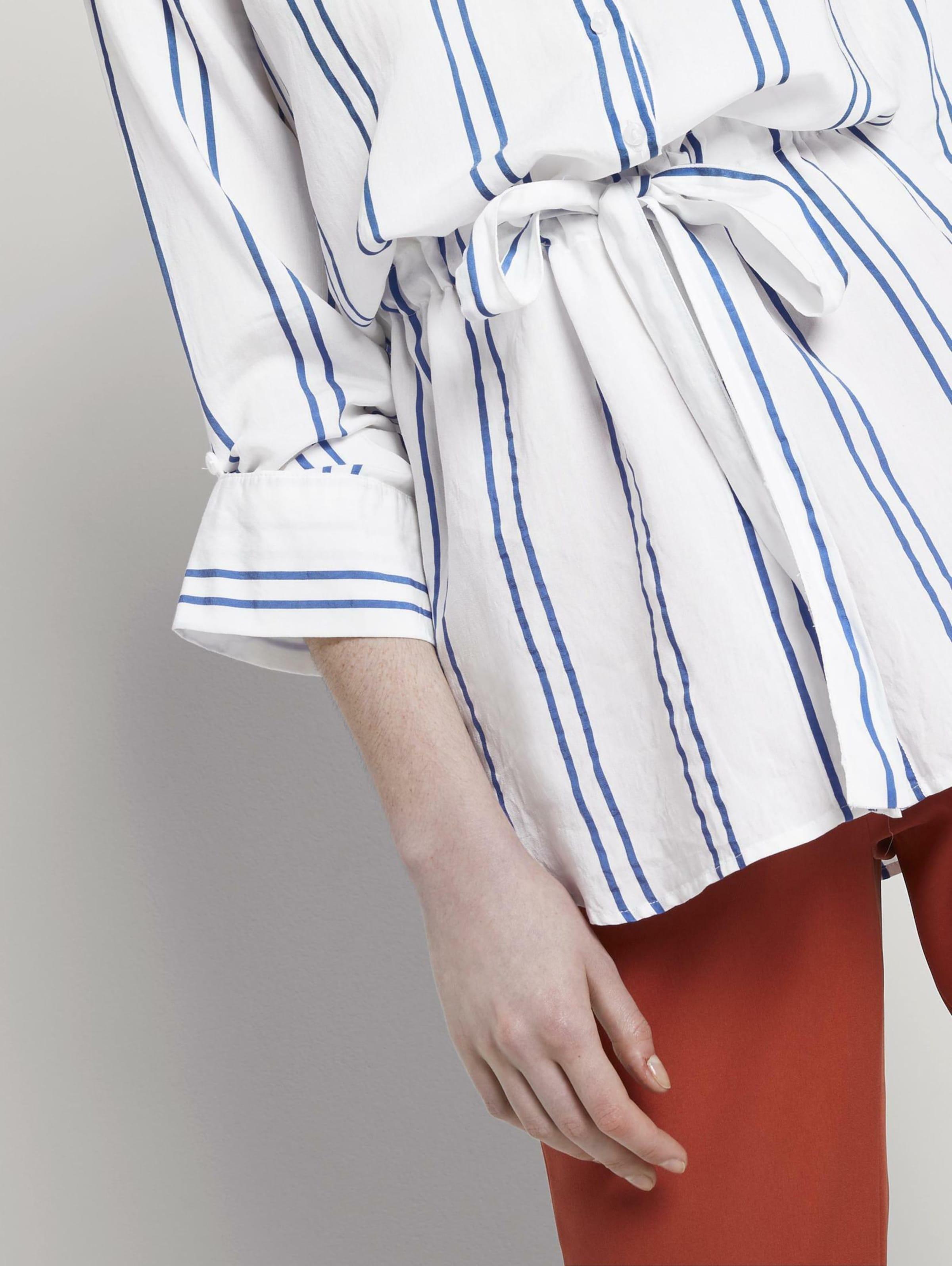 TOM TAILOR DENIM Bluse in blau / weiß