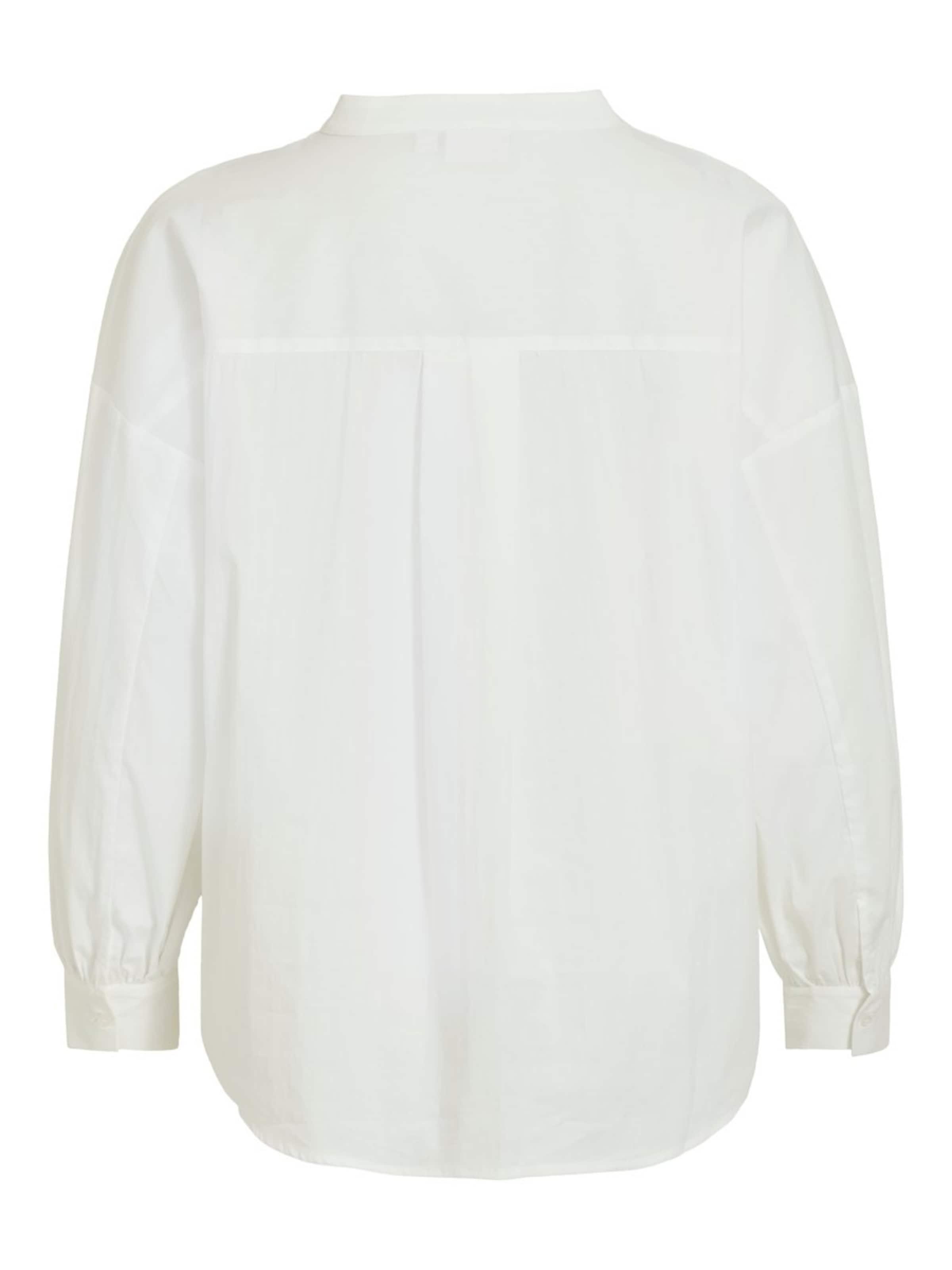 VILA V-Ausschnitt Oberteil mit langen Ärmeln in weiß