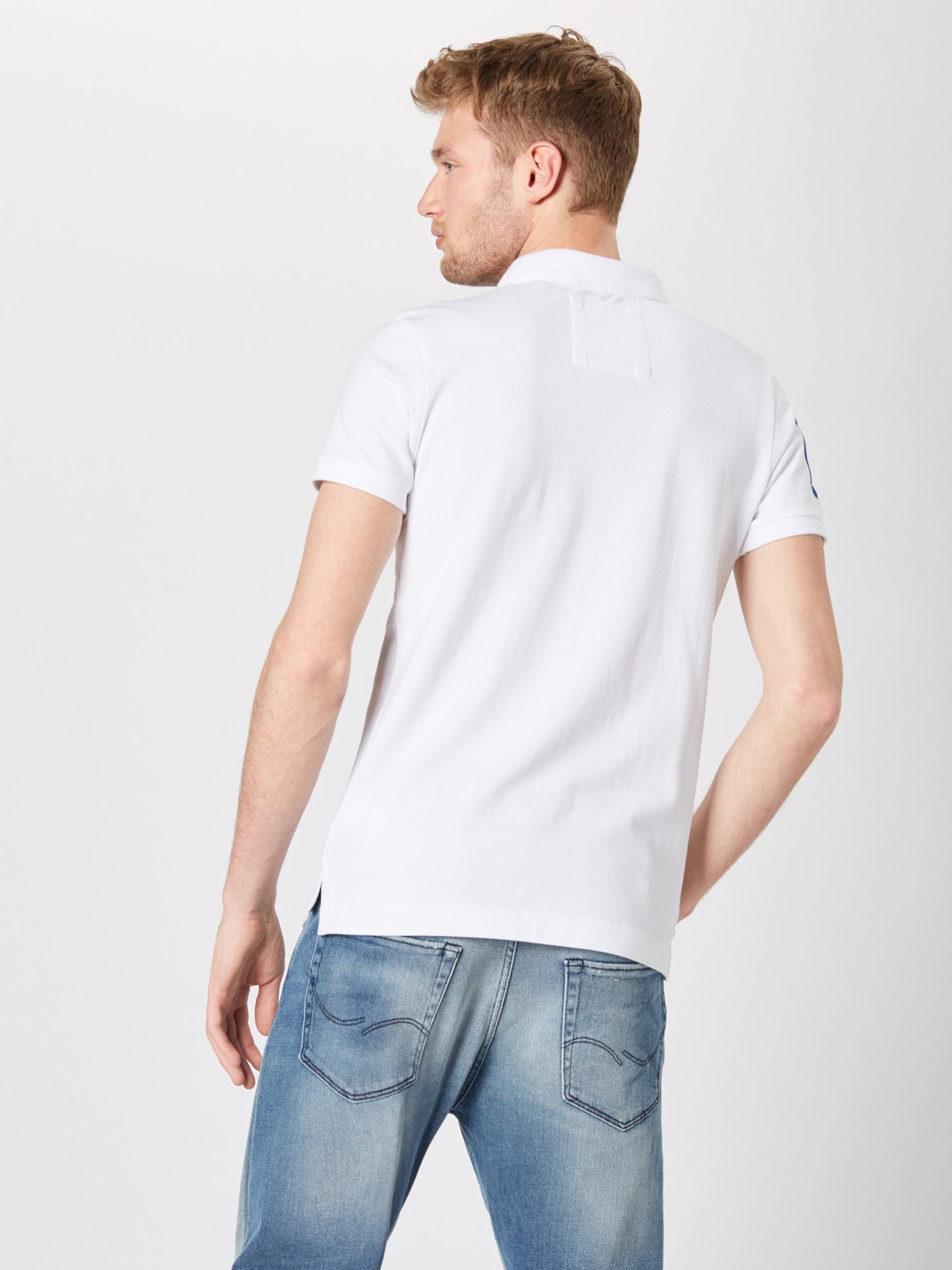 T Superdry BleuOrange 'classic shirt Blanc En Noir Pique' 4RAq53jL