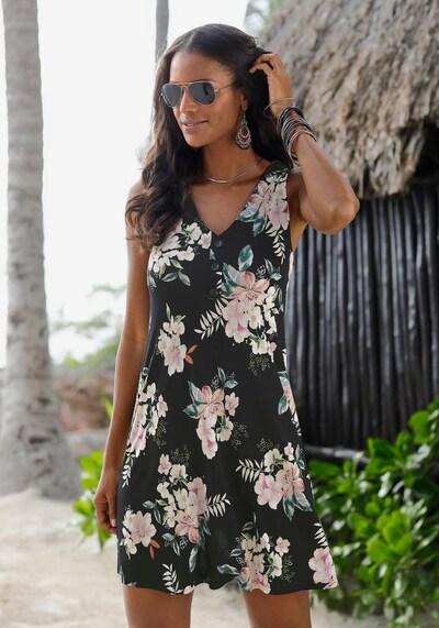 LASCANA Kleid in mischfarben / schwarz: Frontalansicht