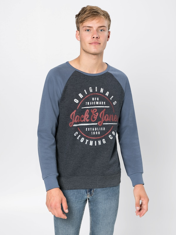 'jorvinnie Jackamp; shirt grisBleu Raglan Bleu Clair Foncé Sweat Jones Sweat En Rouge Blanc Crew Neck' odQrBCxeW