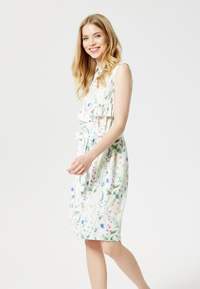 Usha Kleid 'Blue Label' in royalblau / hellgelb / grün / melone / weiß, Modelansicht