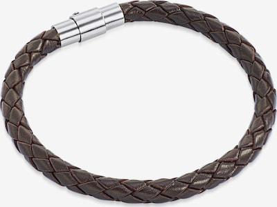 Rafaela Donata Echtlederarmband geflochten in dunkelbraun / silber, Produktansicht