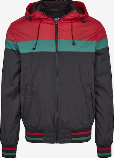Urban Classics Tussenjas 'Windrunner' in de kleur Jade groen / Rood / Zwart, Productweergave