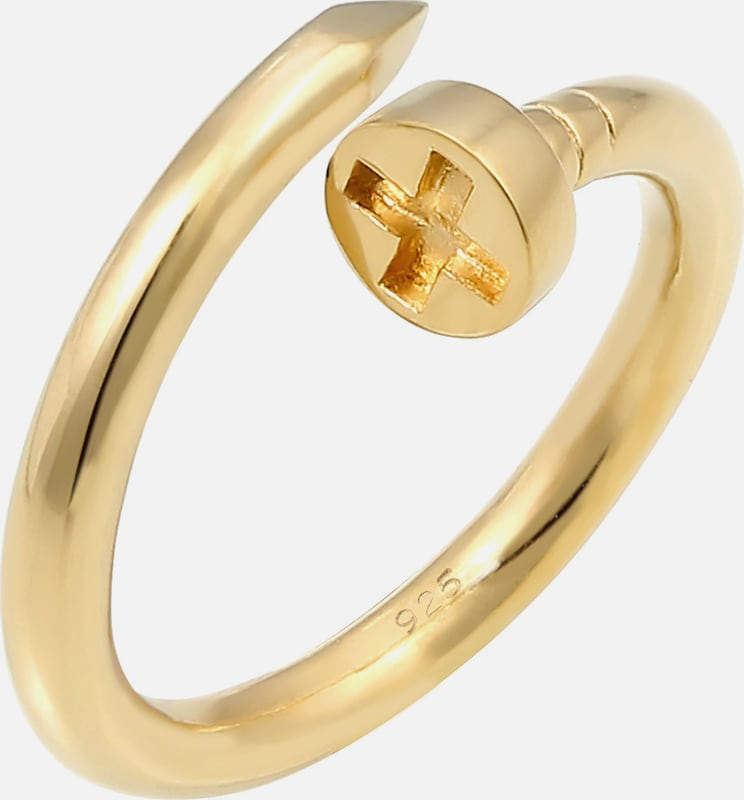 ELLI PREMIUM Ring Nagel, Wickelring in gold: Frontalansicht