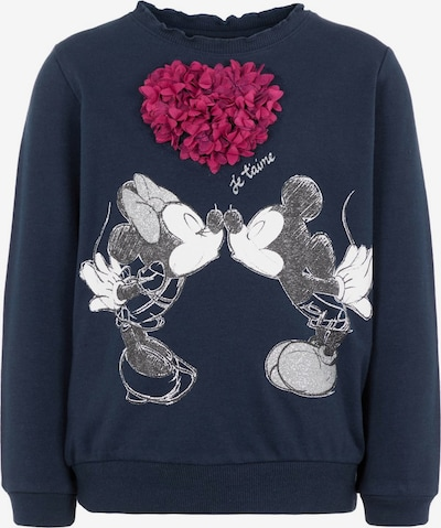 NAME IT Sweat-shirt 'NMFMINNIE OLIVIA' en bleu nuit / gris / framboise / blanc: Vue de face