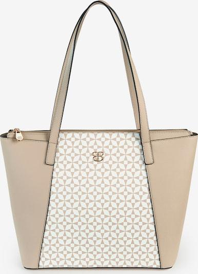Basler Handtasche mit Schulterhenkeln und Reißverschluss in sand / weiß, Produktansicht