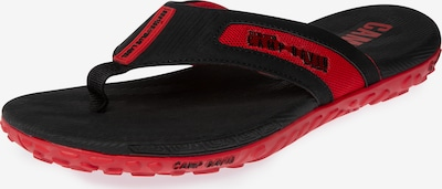 CAMP DAVID Moderner Beach Slipper mit Profilsohle in rot / schwarz, Produktansicht