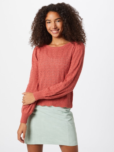 ONLY Pullover 'MALOU' in pastellrot, Modelansicht