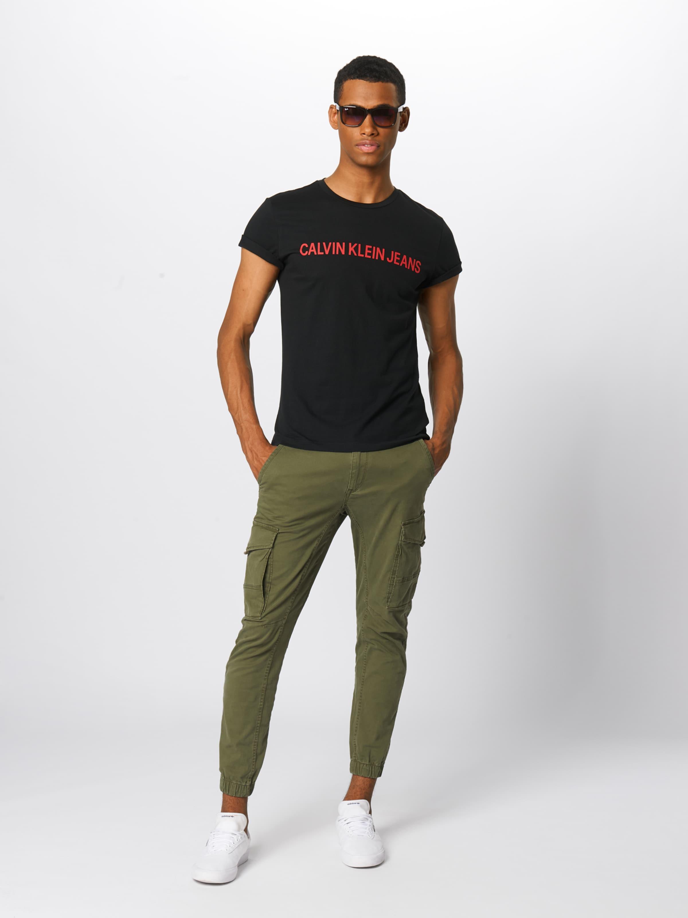 Jeans 'institutional RotSchwarz Calvin Logo T Klein shirt Slim In Tee' 1JTK3lFc