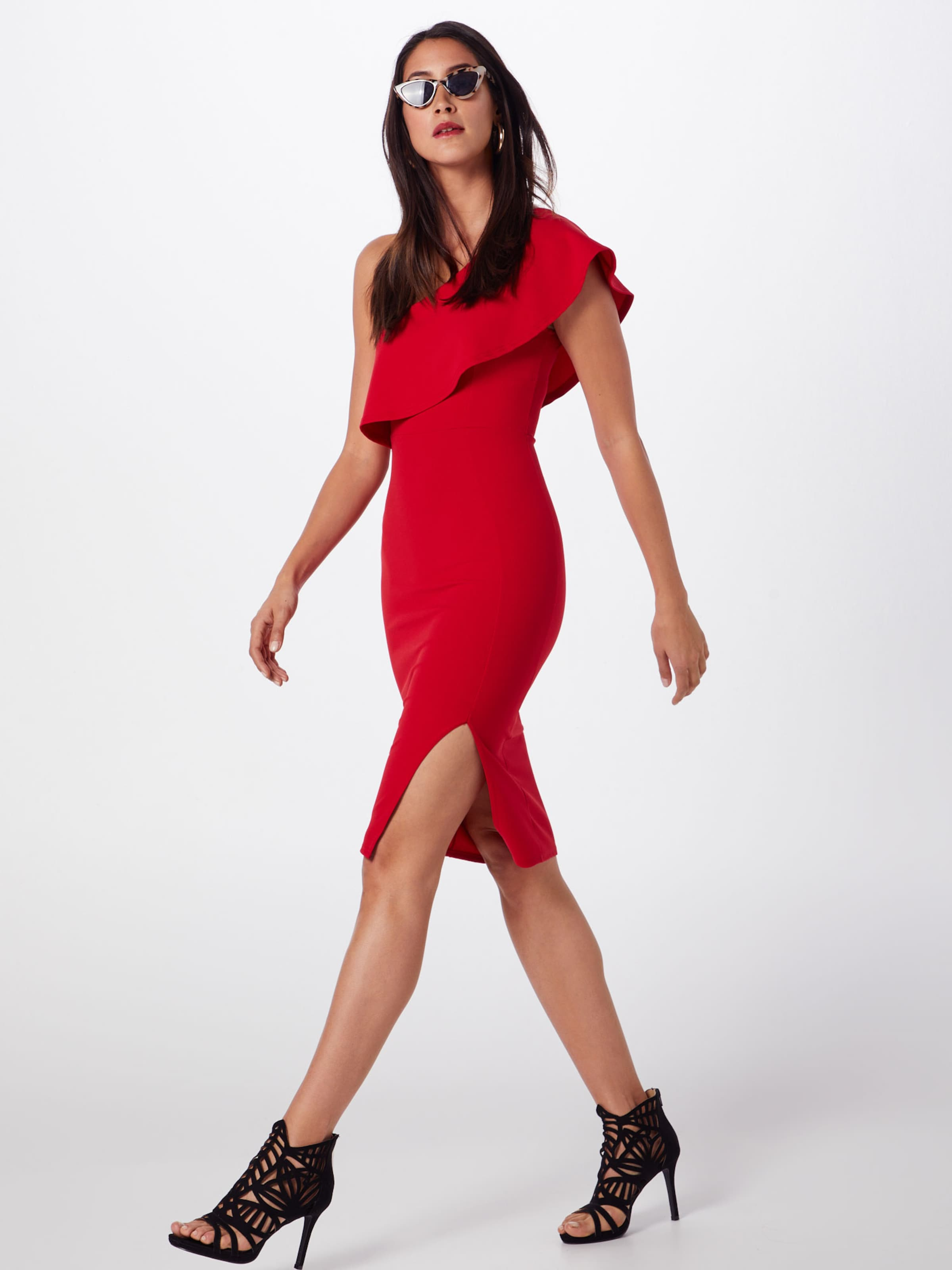 Shoulder Rot Missguided Frill Midi 'scuba In One Dress' Kleid rxCoWdeQB