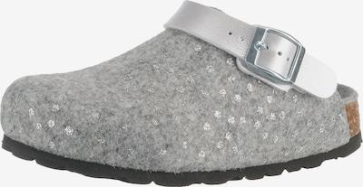 Fischer-Markenschuh Pantoletten in grau / silber, Produktansicht