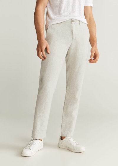 MANGO MAN Hose 'oyster' in creme: Frontalansicht