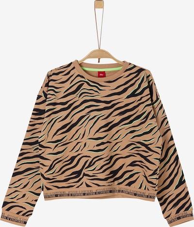 s.Oliver Sweatshirt in beige / dunkelbraun, Produktansicht