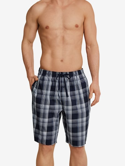 SCHIESSER Pantalon de pyjama en bleu / noir / blanc, Vue avec modèle
