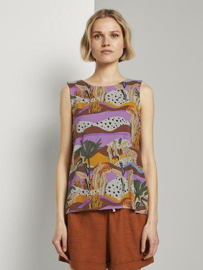 TOM TAILOR DENIM Blusen & Shirts Ärmellose Bluse mit exotischem Print in mischfarben, Modelansicht