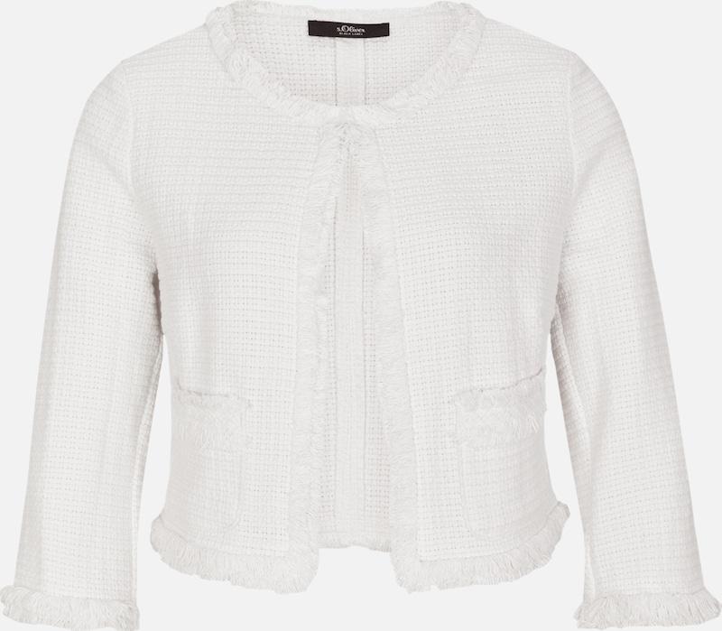S.Oliver schwarz LABEL Kurze Bouclé-Jacke in weiß  Neue Kleidung in dieser Saison