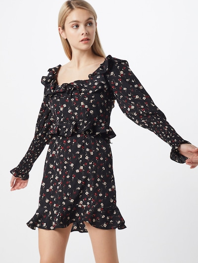 Missguided Kleid 'DITSY FLORAL SHIRRED MILKMAID' in schwarz, Modelansicht
