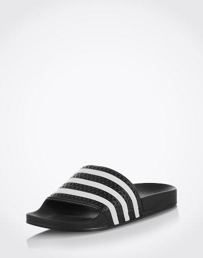 ADIDAS ORIGINALS Pantolette 'Adilette' in schwarz / weiß: Frontalansicht