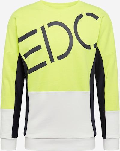 EDC BY ESPRIT Sweatshirt 'SG-030CC2J301' in neongelb / schwarz / weiß, Produktansicht