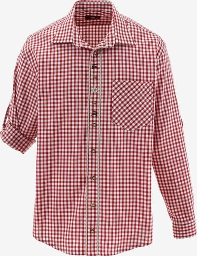 OS-TRACHTEN Trachtenhemd mit Krempelärmel in rot / weiß, Produktansicht