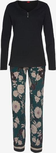 s.Oliver Pyjama in dunkelgrün / schwarz / weiß, Produktansicht