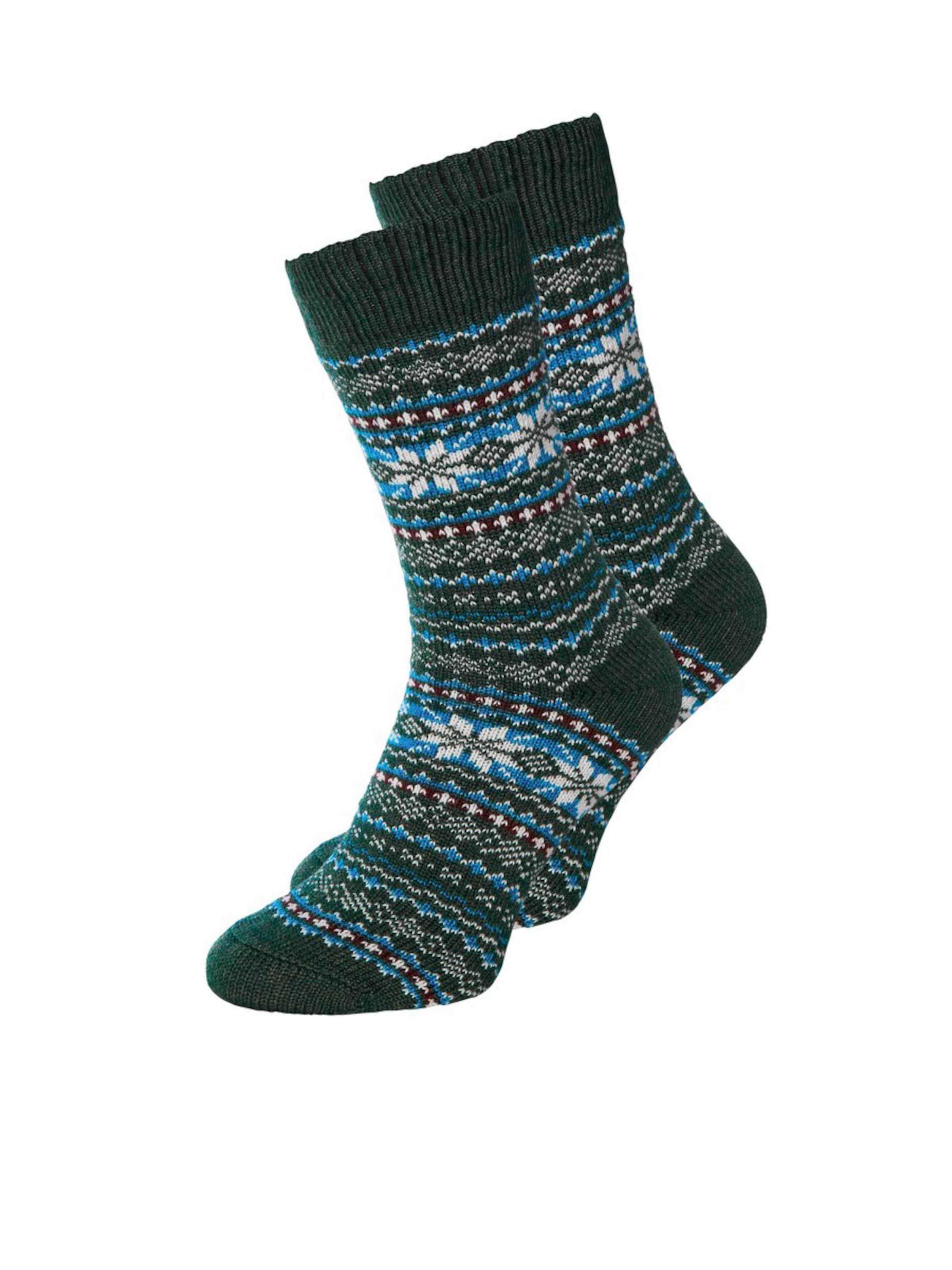 JACK & JONES Socken in blau / dunkelgrün / weiß Norweger-Muster 5714501229901