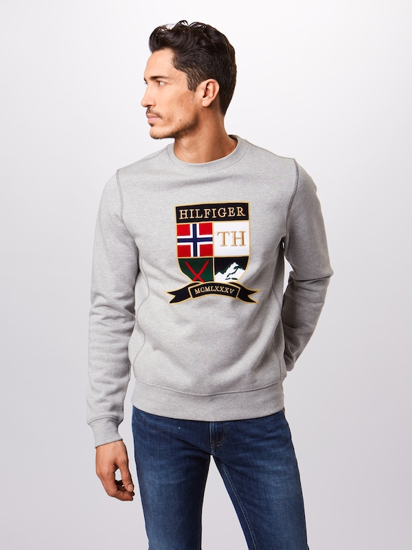 TOMMY HILFIGER Sweatshirt 'SHIELD ARTWORK SWEATSHIRT' in dunkelblau / grau / weiß: Frontalansicht