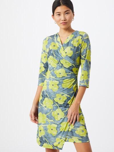 Cartoon Kleid in taubenblau / neongelb, Modelansicht