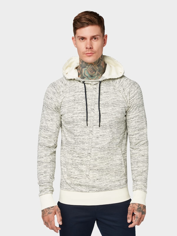 TOM TAILOR DENIM Hoodie in hellbeige: Frontalansicht