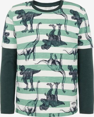 NAME IT Shirts & Tops 'NMMNICKAS LS TOP' in nachtblau / grün / pastellgrün / weiß, Produktansicht