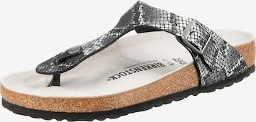 BIRKENSTOCK T-Bar Sandals 'Gizeh Python' in Black