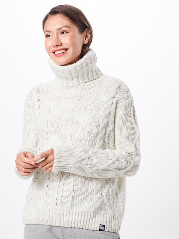 Pulover 'ELSIE CRAFTED CABLE ROLL NECK' Superdry pe alb, Vizualizare model