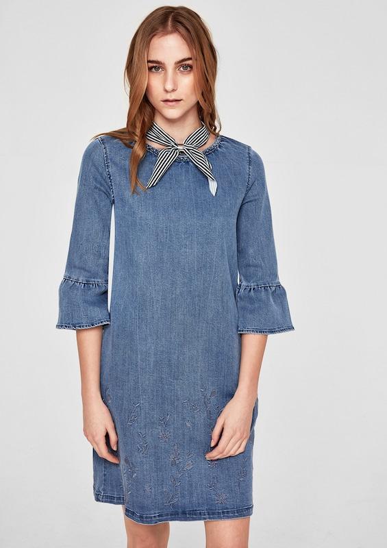 s.Oliver RED LABEL Besticktes Denim-Kleid mit Volants
