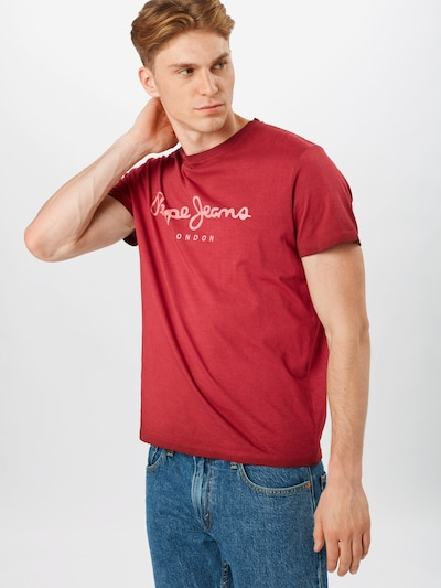 Pepe Jeans T-Shirt 'WEST SIR' in rosé / weinrot: Frontalansicht