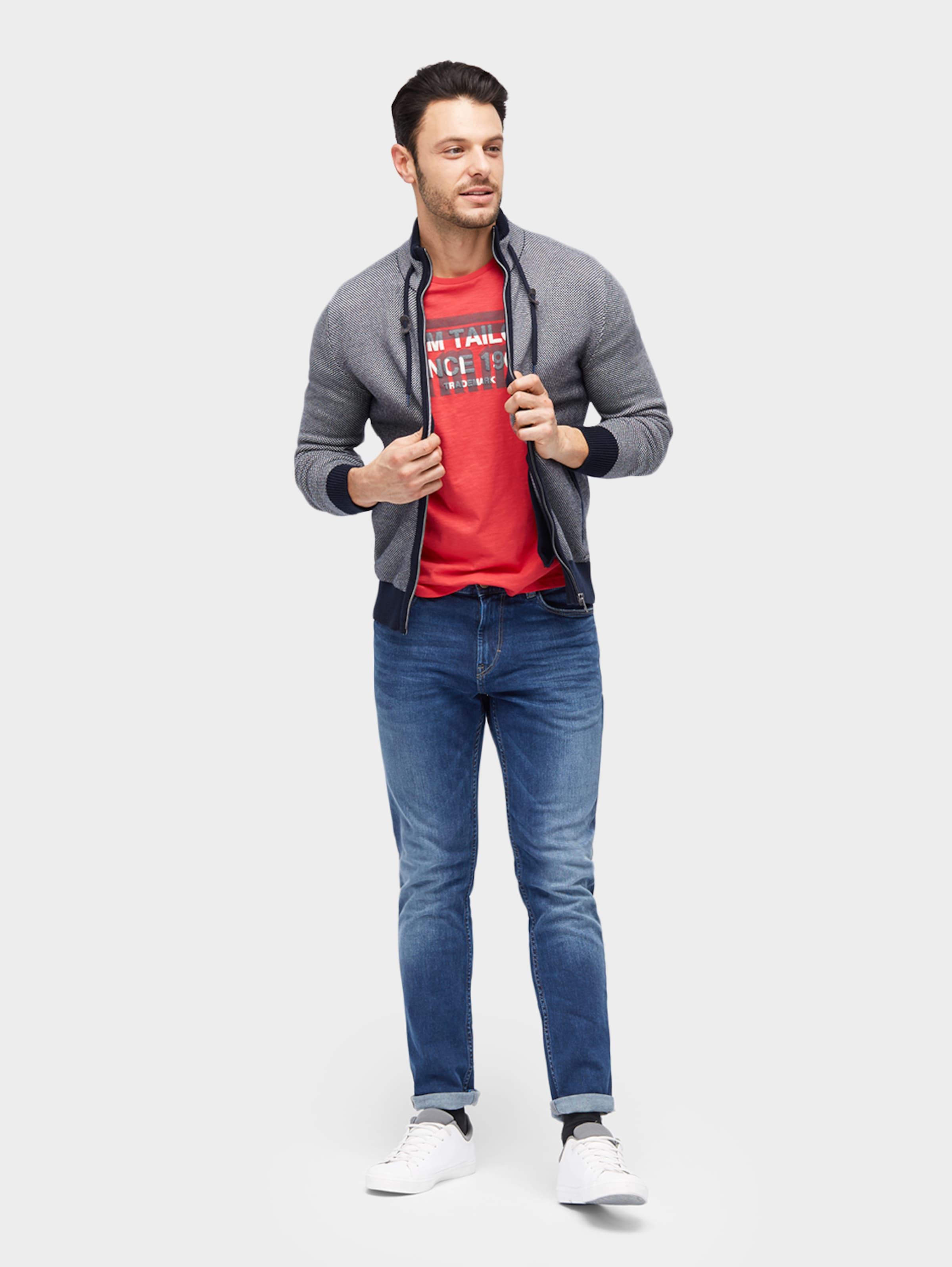 TOM TAILOR T-Shirt mit Schrift-Print Billig Mit Master V8VgXYAd