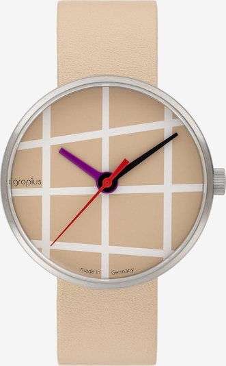 WALTER GROPIUS Uhr in creme / dunkellila / rot / silber / weiß, Produktansicht