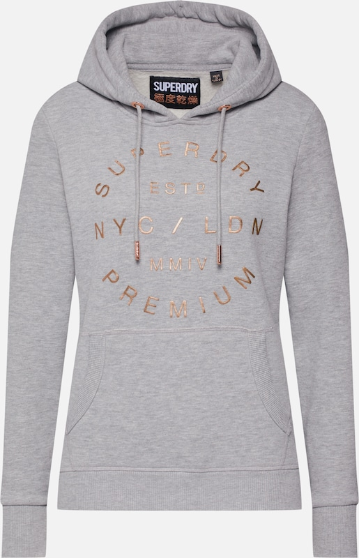 Superdry Sweatshirt 'NYC STUDIO FOIL ENTRY HOOD' in grau, Produktansicht
