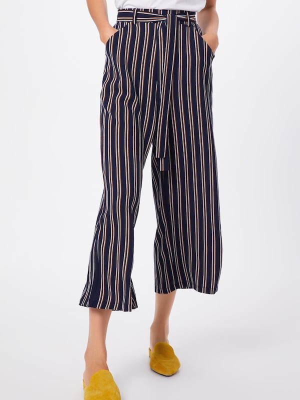 PIECES Hose 'Nellie' in navy / dunkelorange / weiß: Frontalansicht