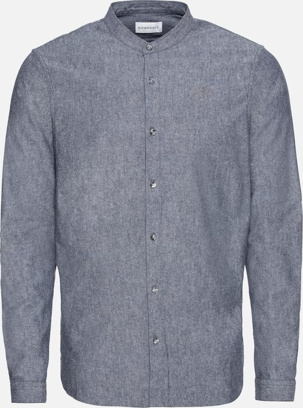 Oxford Bleu 'grandad Chemise Shirt' Denim En Nowadays Brushed jLc54Rq3A