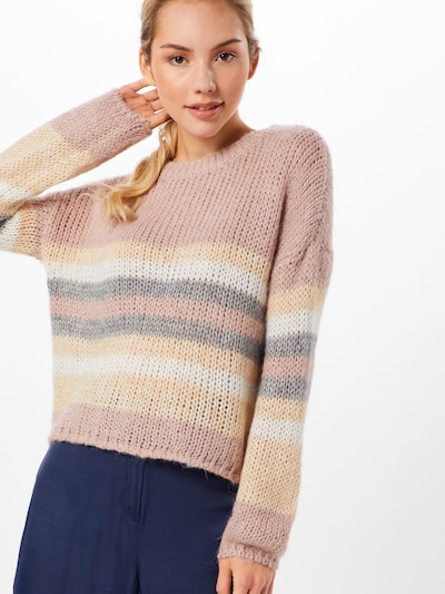 ONLY Pullover 'NEW CARLE' in grau / rosé: Frontalansicht