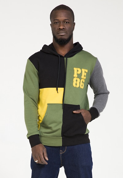 PLUS EIGHTEEN Kapuzenpullover in gelb / khaki / schwarz, Produktansicht