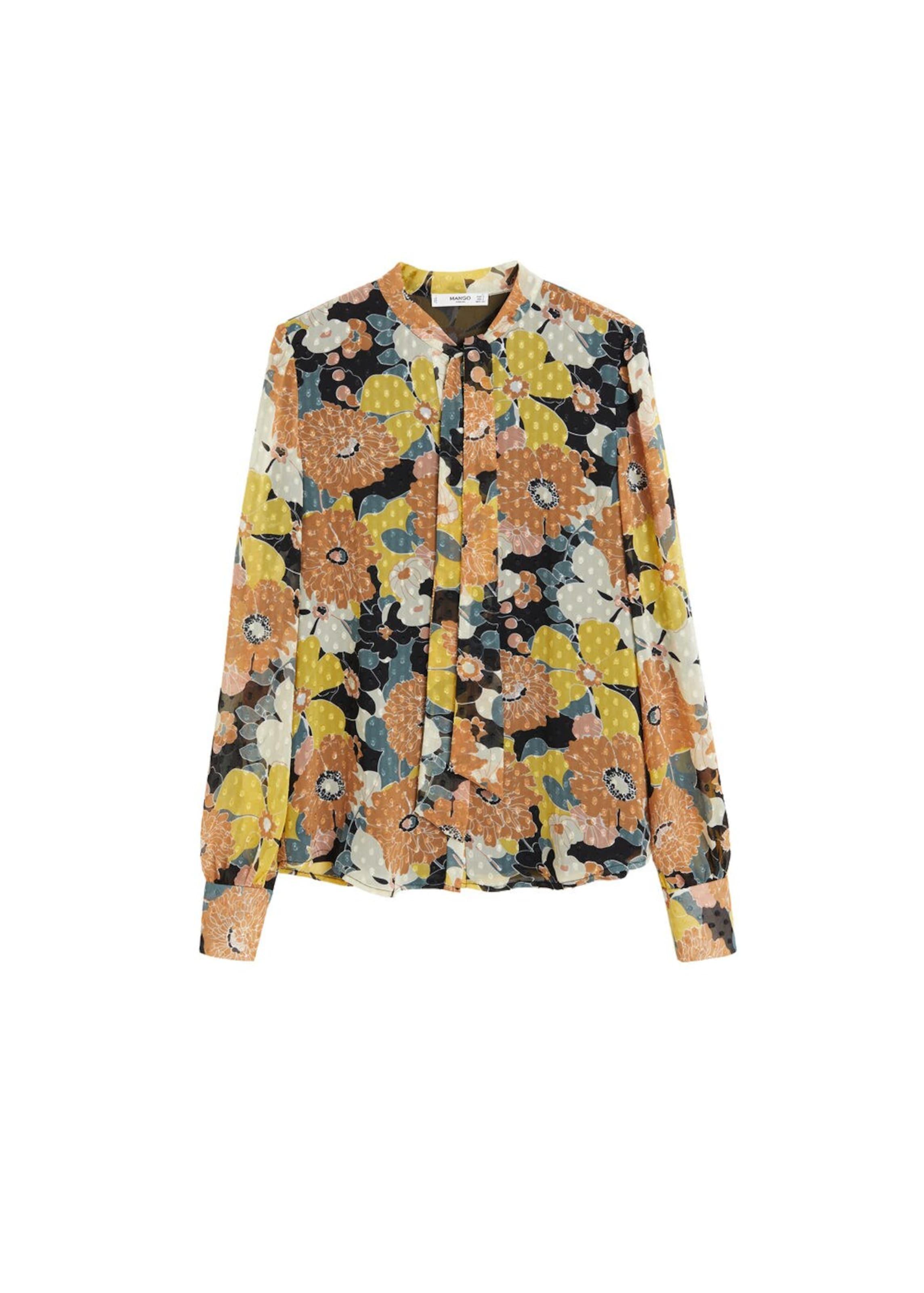 MischfarbenSchwarz Bluse a' 'flower Mango In TFKJl1c