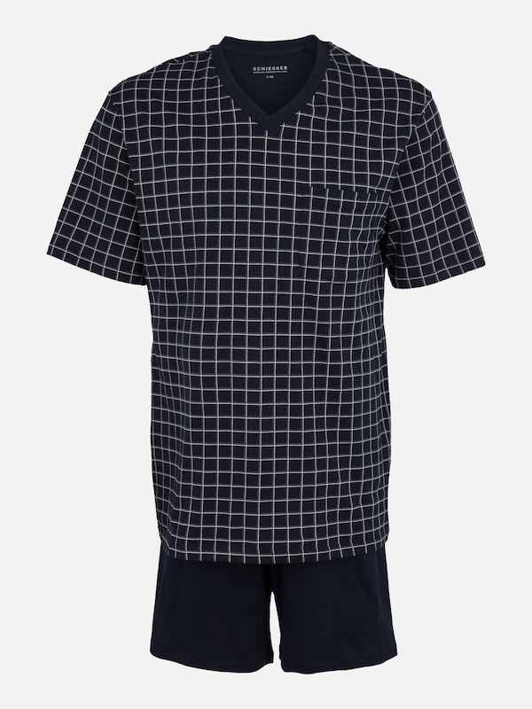 Court Schiesser En Bleu Gris Pyjama Foncé 558qUTg