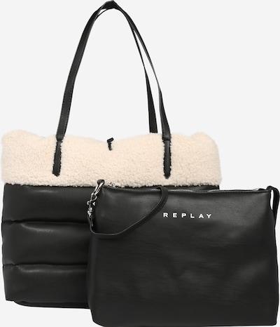 REPLAY Shopper in schwarz / weiß: Frontalansicht