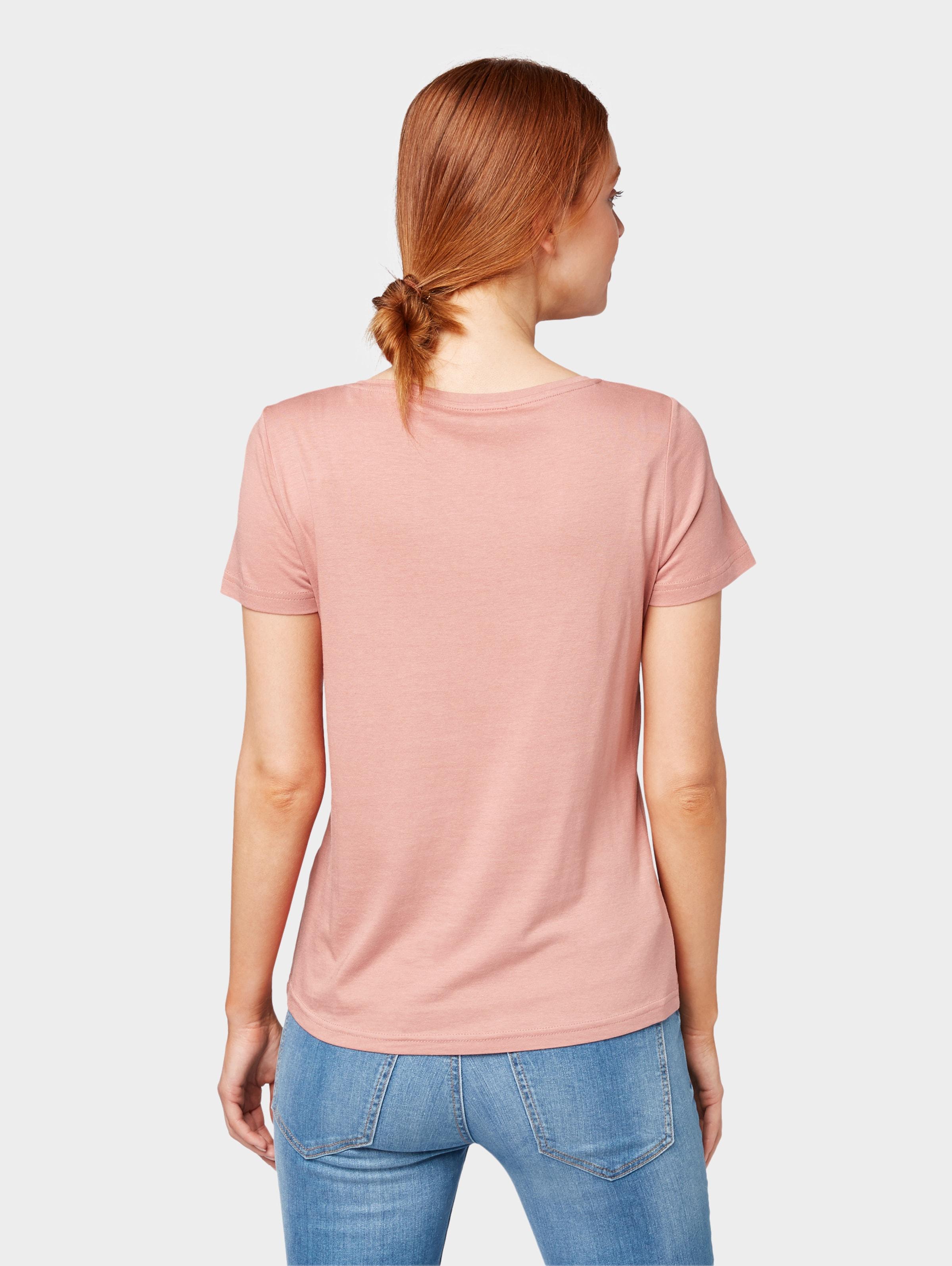 T Brusthöhe shirt Tom Tailor Auf Print Altrosa Mit In kiXTwOPZu