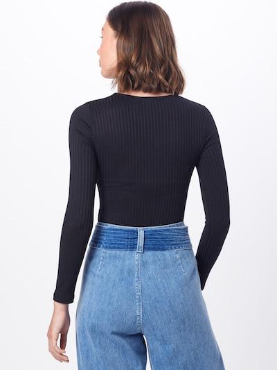 Marškinėliai 'Jumbo Rib Plunge' iš Boohoo , spalva - juoda: Vaizdas iš galinės pusės