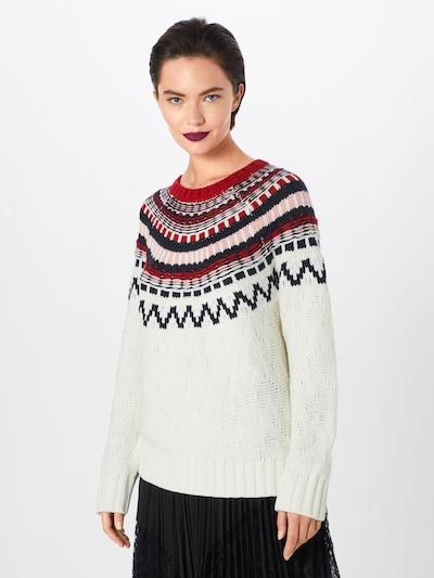 ABOUT YOU Sweter 'Alia' w kolorze różowy pudrowy / czerwony / offwhitem: Widok z przodu