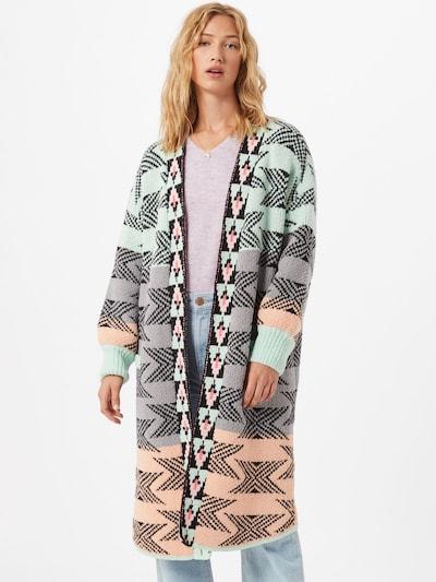 DELICATELOVE Manteau en tricot 'Anna' en turquoise / gris / noir, Vue avec modèle