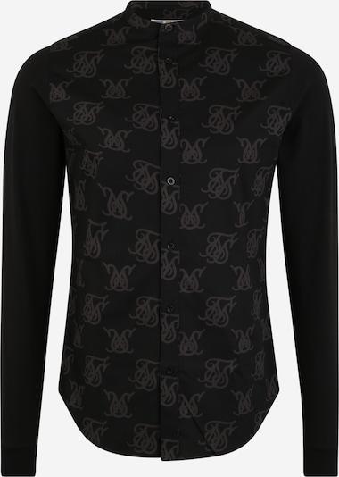 SikSilk Hemd 'siksilk muscle fit oxford cotton shirt' in schwarz, Produktansicht